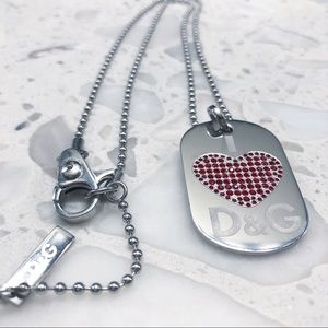 Dolce and Gabbana Swarovski heart dog tag necklace